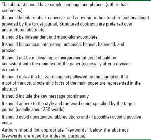 Table 3: Checklist/useful tips for formulating a good abstract for a research paper
