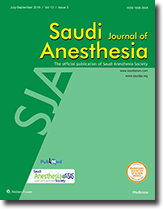 Saudi Journal of Anaesthesia